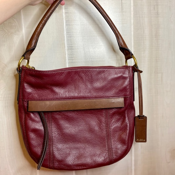 Fossil Leather Burgundy and Brown Handbag